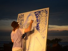 YOKII at Warna Senja Live Painting & Art Exhibition at Alila Seminyak