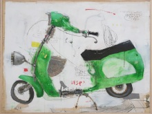 Nyoman-Suarnata_Green-Vespa-mix-media-on-canvas-100x130cm-2019