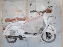 Nyoman-Suarnata_White-Vespa-Mix-Media-on-Canvas