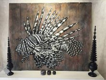 Lion Fish Stencil Art on Recycled Wood by Quint