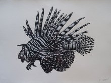 Lion Fish on Paper