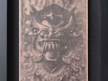 Barong-Mask-Tintype-Photo-scan-printed-on-banana-paper-40-x-31-cm
